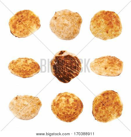 Cottage cheese flapjack flat cake isolated over the white background, set of nine different foreshortenings