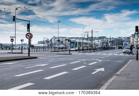 Tramway in the City of Nantes. With a blue hue.