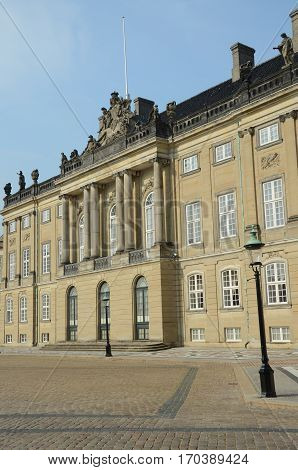 An external view of the palace in Amalienborg