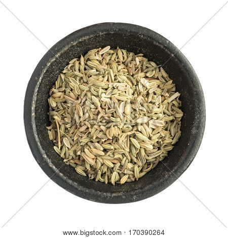Raw Dry Fennel Seeds Heap In Black Iron Bowl