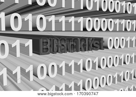 blacklist is represented as a binary code 3d illustration