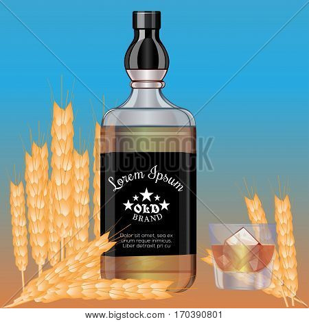 Background yellow - blue. Ears of wheat . Bottle with alcohol. Elite drinks. Five Stars . Glass with ice. Template for design and interior. Vector illustration