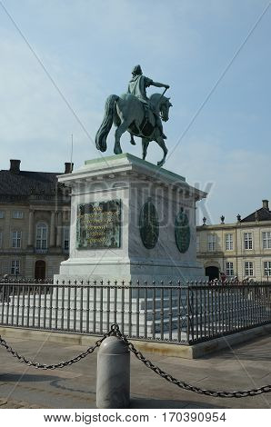 A view of the statue outside Amalienborg palace in Copenhagen