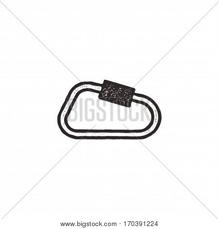 carabiner icon isolated on white background. Letterpress effect. Vector adventure pictogram.