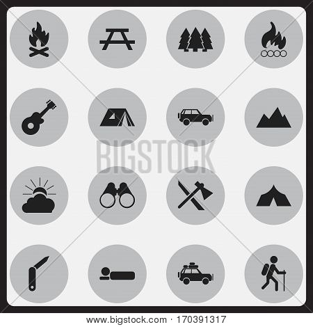 Set Of 16 Editable Travel Icons. Includes Symbols Such As Blaze, Peak, Clasp-Knife And More. Can Be Used For Web, Mobile, UI And Infographic Design.