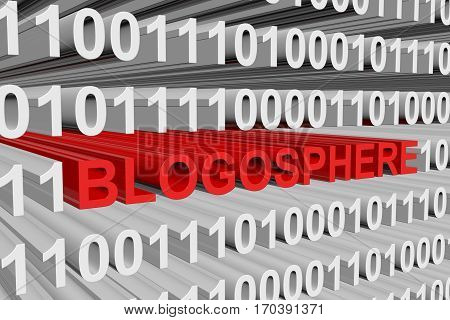 blogosphere is represented as a binary code 3d illustration