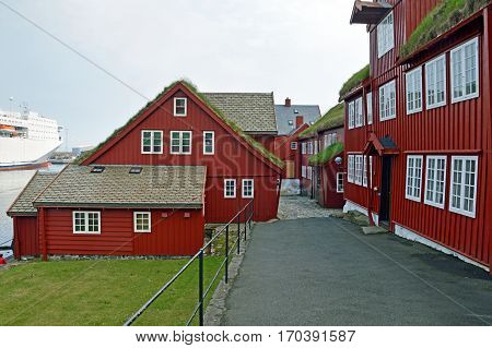 Buildings at the port of Torshavn (Faroe Islands)