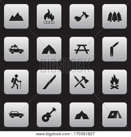 Set Of 16 Editable Camping Icons. Includes Symbols Such As Sport Vehicle, Blaze, Shelter And More. Can Be Used For Web, Mobile, UI And Infographic Design.