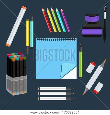 Realistic art supplies, set art materials. Professional art marker with two tips, multicolored capillary pens, colour pencils, markers in set, sketchbook, ink and pen. Vector graphics objects