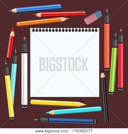 Realistic art supplies, set art materials. Desk artist. Sketchbook, multicolored handles capillary, liners, colour pencils, eraser. Vector objects for drawing, graphics