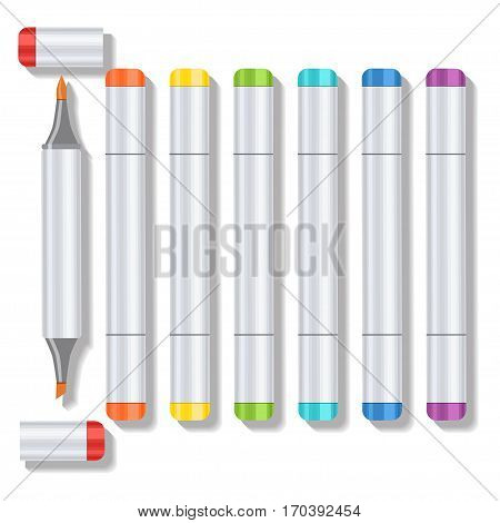 Set realistic multicolored professional art marker with two tips and removable caps. Markers of all colors of the rainbow. Vector art supplies for drawing, sketching, graphics, painting and creativity