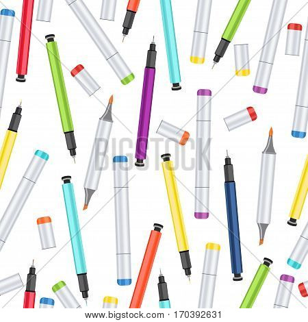 Markers, liners and handles capillary seamless pattern, art background. Vector multicolored art supplies on white backdrop