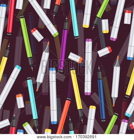 Markers, liners and handles capillary seamless pattern, art background. Vector multicolored art supplies