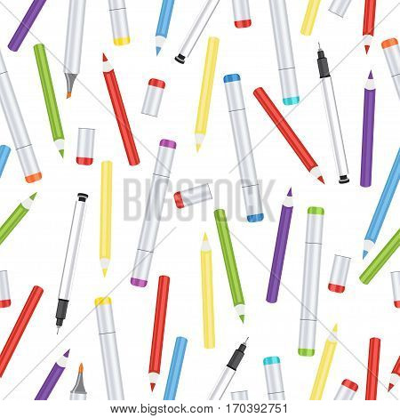 Markers, liners, handles capillary and colored pencils seamless pattern, art background. Vector multicolored art supplies on white backdrop