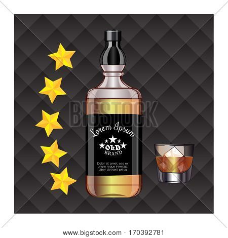 Bottle with alcohol. Elite drink. Presentation of the new. Five Stars . Glass with ice. Template for design and interior - flyers, business cards, brochures. Vector illustration .