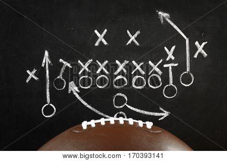 Scheme of football game on chalkboard background
