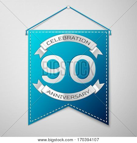 Blue pennant with inscription Ninety Years Anniversary Celebration Design over a grey background. Silver ribbon. Colorful template elements for your birthday party. Vector illustration