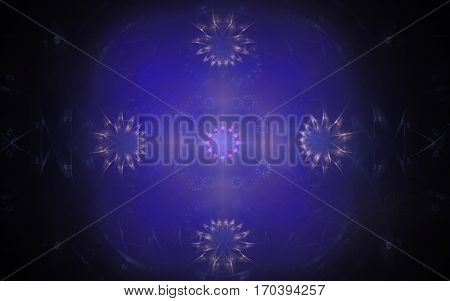 abstract illustration ornament in the form of five stars in a blue irregular-shaped fog on a black background