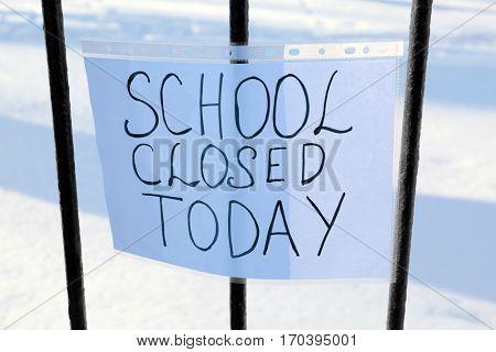 School closed due to heavy snowfall