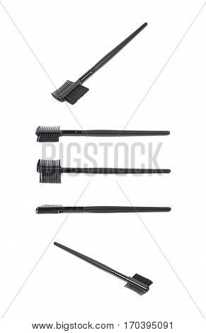Black eyebrow makeup brush isolated over the white background, set of five different foreshortenings