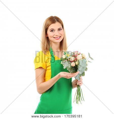 Beautiful woman florist holding flower bouquet isolated on white background