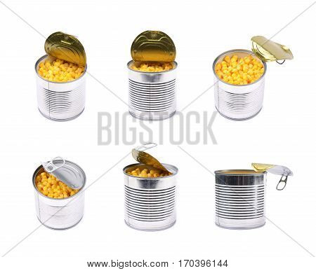 Canned corn in a tincan isolated over the white background, set of six different foreshortenings