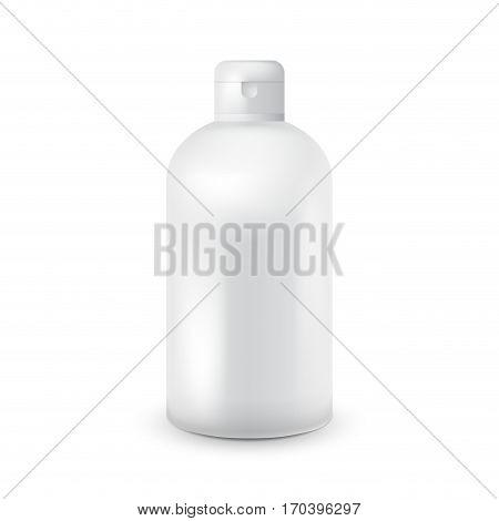 White plastic bottle template for shampoo, shower gel, lotion, body milk, bath foam. Ready for your design. Vector illustration. White color