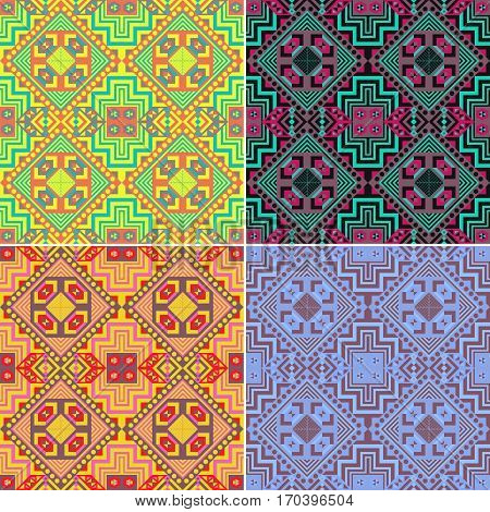 Set of colorful seamless geometric patterns. Ethnic. Vector illustration.