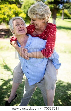 Happy senior man giving a piggy back to senior woman in park