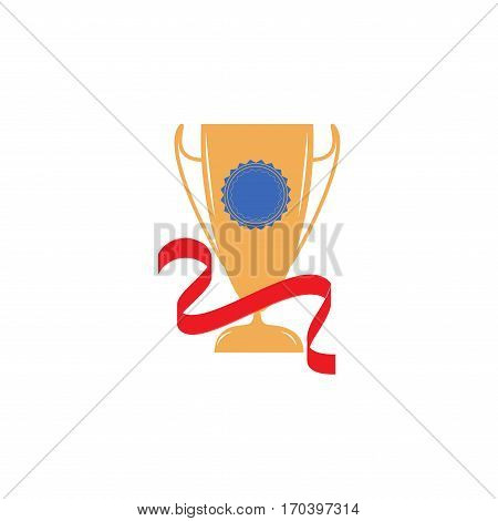 Cup and ribbon reward. Modern symbol of victory and award achievement sport. Insignia ceremony awarding of winner tournament. Colorful template for badge tag etc. Design element. Vector illustration