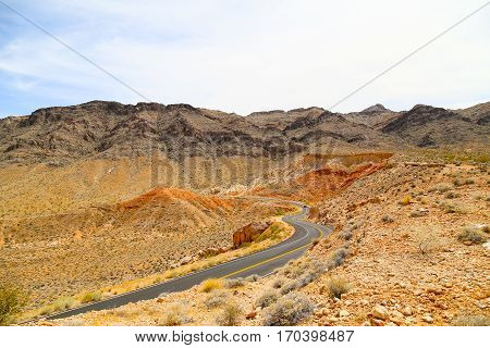 Road in the Mountains in the Valley of Fire State Park, Nevada, USA