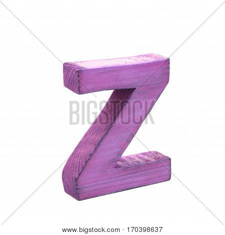 Single sawn wooden letter Z symbol coated with paint isolated over the white background