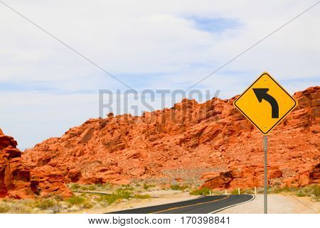 Curvy Highway in the Valley of Fire State Park, Nevada, USA