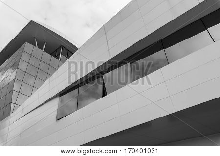 TRADATE, ITALY - OCTOBER 2, 2016: Tradate (Lombardy Italy): modern building. Black and white