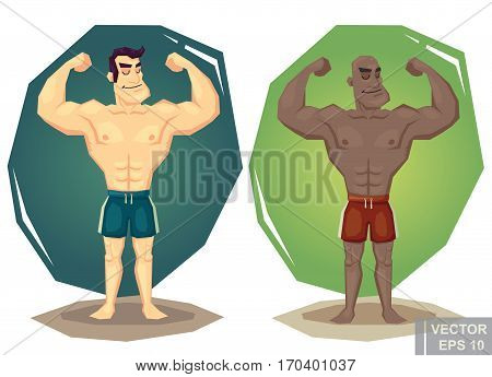 Vintage Strongman. Retro Bodybuilder Strong Power Muscle Man Showing His Big Biceps