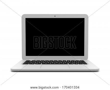 White Laptop Computer On White Background