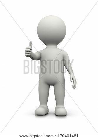 White 3D Character Showing Raised Thumb on White Background Illustration