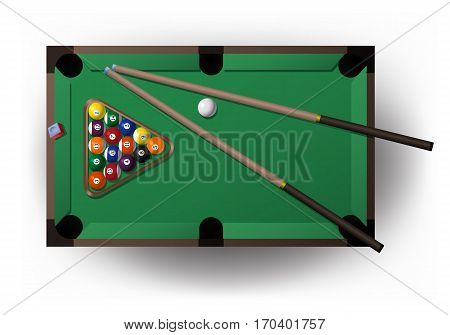 illustration of a pool table with all pool tool for playing billiard in isolated white background