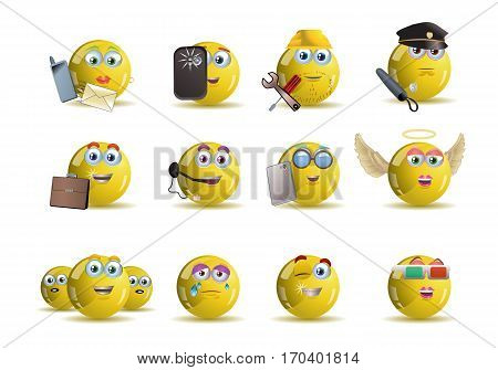 illustrations of variety occupation yellow smile icon avatar cartoon over isolated white background