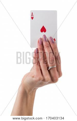 Female hand showing ace of hearts card isolated over white background