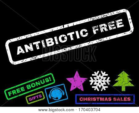 Antibiotic Free text rubber seal stamp watermark with bonus new year symbols. Caption inside rectangular shape with grunge design and scratched texture.