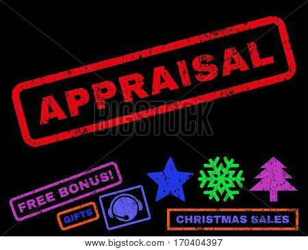 Appraisal text rubber seal stamp watermark with bonus christmas symbols. Caption inside rectangular banner with grunge design and dust texture.