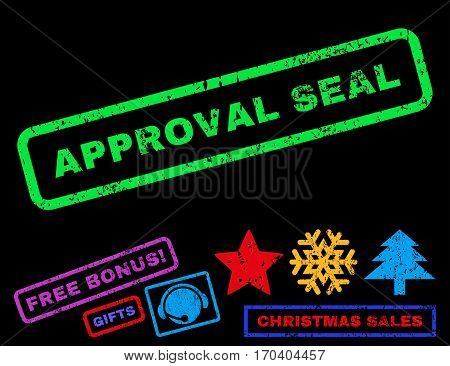 Approval Seal text rubber seal stamp watermark with additional bonus christmas symbols. Tag inside rectangular shape with grunge design and dirty texture.