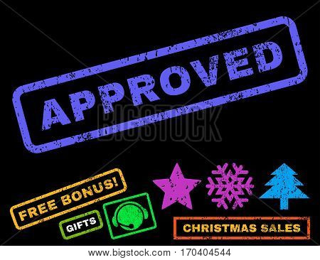 Approved text rubber seal stamp watermark with bonus christmas symbols. Caption inside rectangular shape with grunge design and scratched texture.