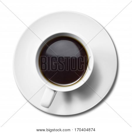 Cup of coffee, high angle view. Black coffee in a white coffee cup, isolated on white background. Cut out object.