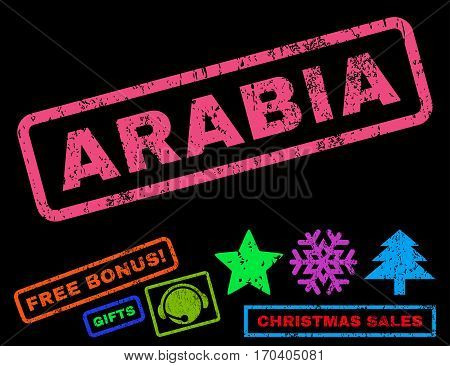 Arabia text rubber seal stamp watermark with bonus new year symbols. Caption inside rectangular banner with grunge design and dirty texture.