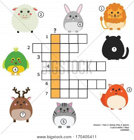 Crossword educational children game with answer. Animals theme. Learning vocabulary. Vector illustration, printable worksheet