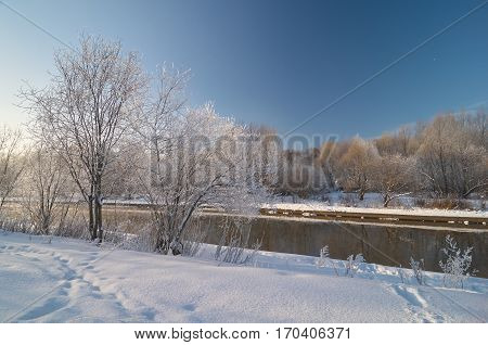 Historic winter view near Yauza river in Moscow Sviblovo district January 2010. Now this place looks different.