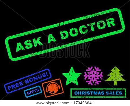 Ask a Doctor text rubber seal stamp watermark with bonus new year symbols. Caption inside rectangular banner with grunge design and unclean texture.