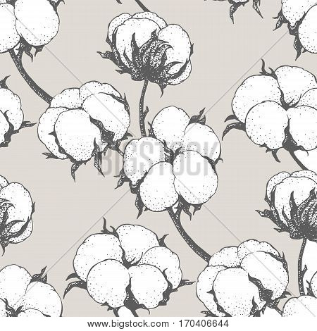Vintage vector cotton flowers seamless pattern. Light colors. Can be used for a rustic wedding, greeting cards, textile or prints.
